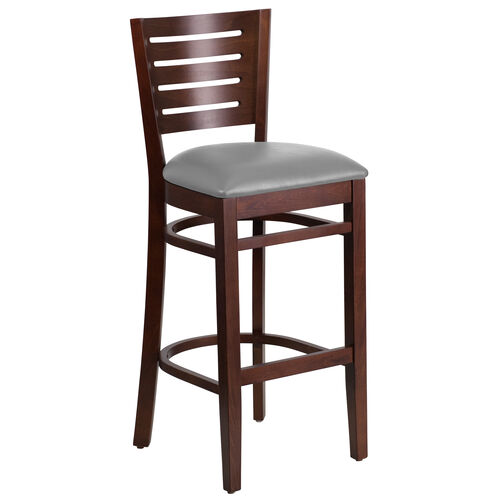 Our Walnut Finished Slat Back Wooden Restaurant Barstool with Custom Upholstered Seat is on sale now.