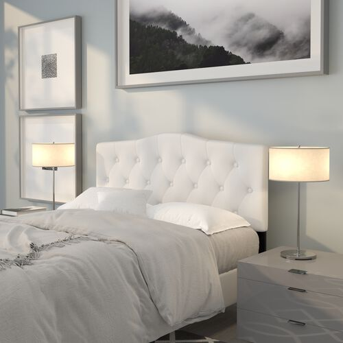 Cambridge Tufted Upholstered Full Size Headboard in White Fabric