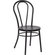 OSP Designs Odessa Metal Dining Chair with Backrest - Set of 2 - Solid Black
