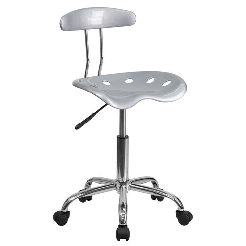 Our Vibrant Silver and Chrome Swivel Task Office Chair with Tractor Seat is on sale now.