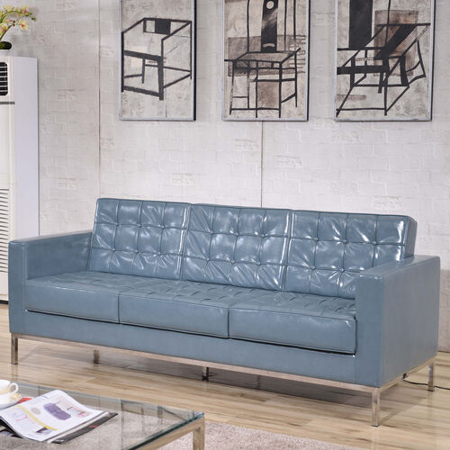 Our HERCULES Lacey Series Contemporary Gray LeatherSoft Sofa with Stainless Steel Frame is on sale now.