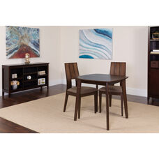 Greenwich 3 Piece Espresso Wood Dining Table Set with Curved Slat Keyhole Back Wood Dining Chairs - Padded Seats