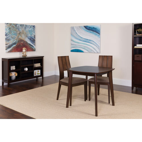 Our Greenwich 3 Piece Espresso Wood Dining Table Set with Curved Slat Keyhole Back Wood Dining Chairs - Padded Seats is on sale now.