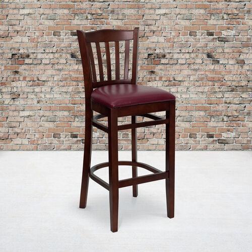 Mahogany Finished Vertical Slat Back Wooden Restaurant Barstool with Burgundy Vinyl Seat