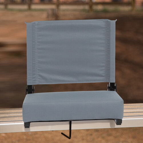 Grandstand Comfort Seats by Flash - 500 lb. Rated Lightweight Stadium Chair with Handle & Ultra-Padded Seat, Gray