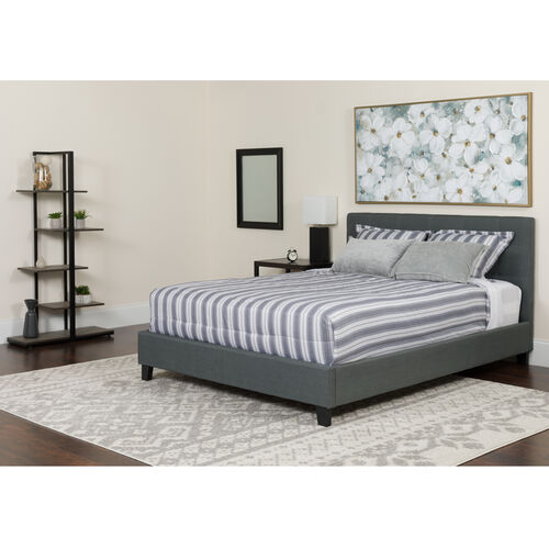 Our Chelsea King Size Upholstered Platform Bed in Dark Gray Fabric with Memory Foam Mattress is on sale now.