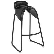 Santa Fe Saddle Chair Barstool in Black Vinyl
