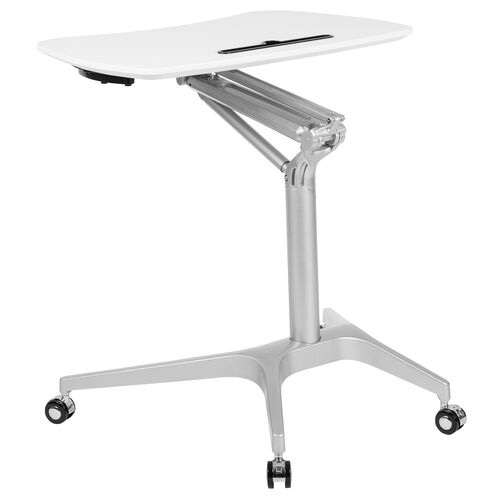 """Our Mobile Sit-Down, Stand-Up White Computer Ergonomic Desk with 28.25""""W Top (Adjustable Range 29"""" - 41"""") is on sale now."""