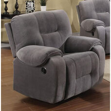 Villa Transitional Style Champion Fabric Recliner with Hand Latch - Light Gray