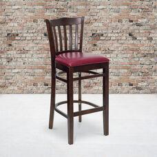 Walnut Finished Vertical Slat Back Wooden Restaurant Barstool with Burgundy Vinyl Seat