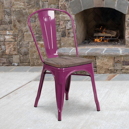 Our Purple Metal Stackable Chair with Wood Seat is on sale now.
