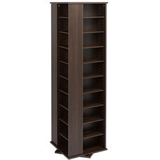 Large 4-Sided Spinning Tower with 36 Adjustable Shelves - Espresso
