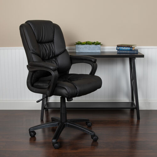 Flash Fundamentals Big & Tall 400 lb. Rated LeatherSoft Swivel Office Chair with Padded Arms, BIFMA Certified