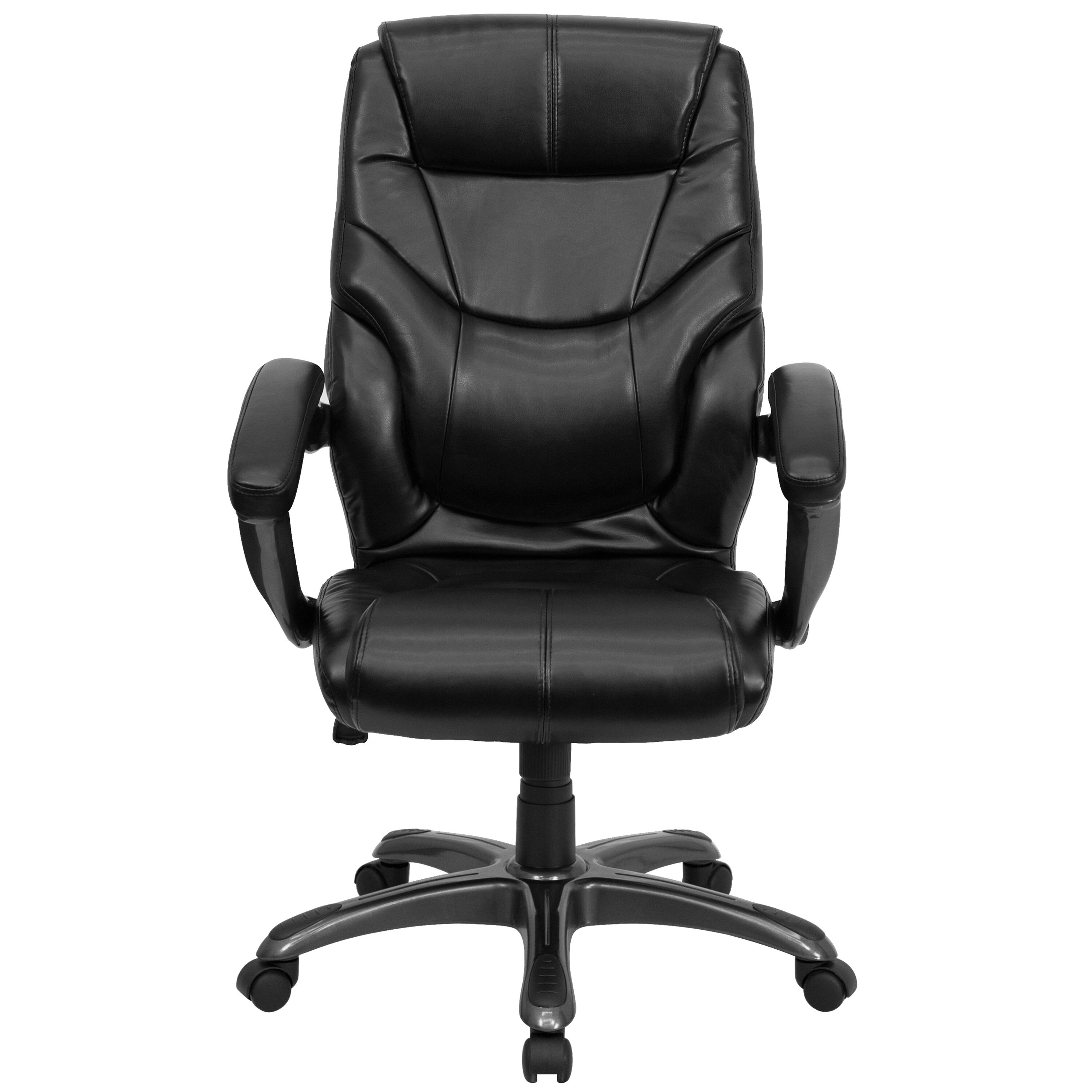 Our High Back Black Leather Overstuffed Executive Swivel Chair With Arms Is  On Sale Now.