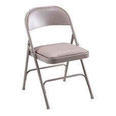 Lorell 225 lb. Capacity Beige Steel Folding Chair with Padded Seats - Set of 4