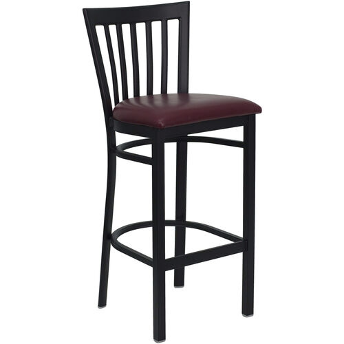 Our Black School House Back Metal Restaurant Barstool with Burgundy Vinyl Seat is on sale now.