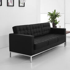 HERCULES Lacey Series Contemporary Black LeatherSoft Sofa with Stainless Steel Frame