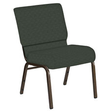 Embroidered 21''W Church Chair in Abbey Pine Fabric - Gold Vein Frame