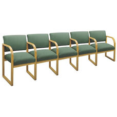 Contour Series Open Back 5 Seats with Sled Base and Center Arms