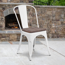 White Metal Stackable Chair with Wood Seat