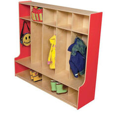 Strawberry Red 5-Section Seat Locker with Two Coat Hooks in Each Section - Assembled - 54