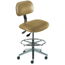 Quick Ship Bridgeport Series Chair with Adjustable Task Controls and Cast Aluminum Base - High Seat Height