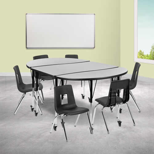 """Mobile 76"""" Oval Wave Collaborative Laminate Activity Table Set with 16"""" Student Stack Chairs, Grey/Black"""