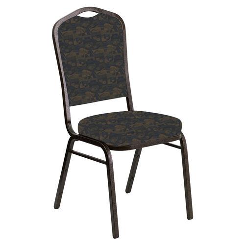Embroidered Crown Back Banquet Chair in Perplex Cobalt Fabric - Gold Vein Frame