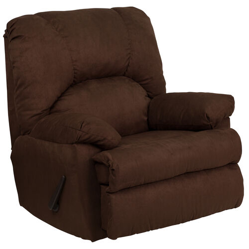 Our Contemporary Montana Chocolate Microfiber Suede Rocker Recliner with Pillow Headrest is on sale now.