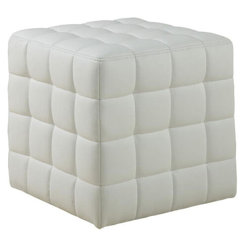 Our Contemporary Tufted Faux Leather Cushioned Ottoman - White is on sale now.