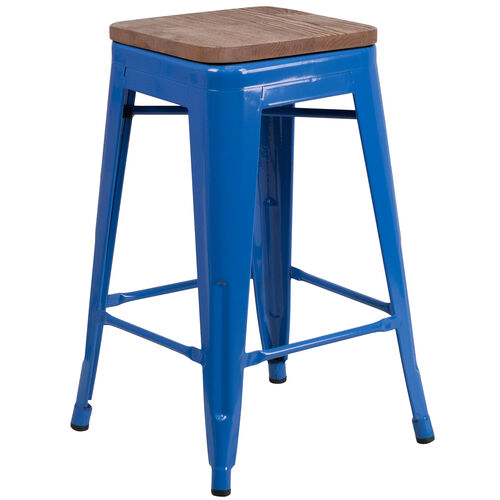 """Our 24"""" High Backless Blue Metal Counter Height Stool with Square Wood Seat is on sale now."""