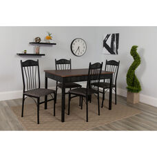 Madison Square 5 Piece Dinette Set with Walnut Finish and Black Pin Dot Padded Fabric Chairs