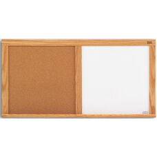 Cork and Remarkaboard® Wood Trim Combination Board - 48