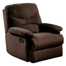 Arcadia Transitional Style Microfiber Recliner with Hand Latch - Chocolate