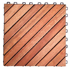 Outdoor Patio 12-Diagonal Slat Eucalyptus Interlocking Deck Tile - Set of 10