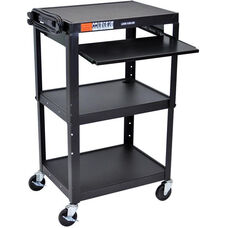 Adjustable Height 3 Shelf Steel A/V Cart with Pullout Tray - Black - 24