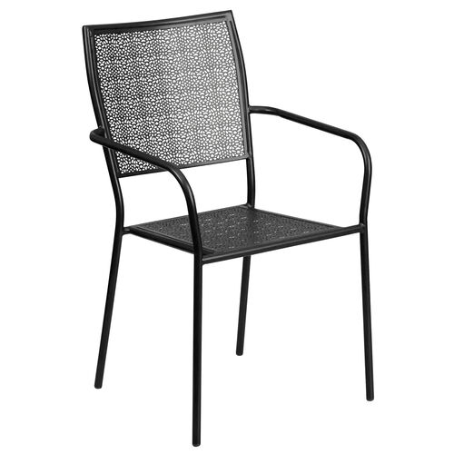 Our Commercial Grade Black Indoor-Outdoor Steel Patio Arm Chair with Square Back is on sale now.