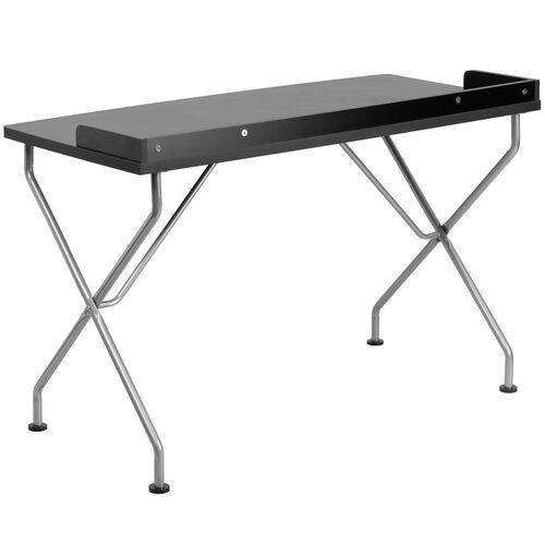 Our Black Computer Desk with Raised Border and Silver Metal Frame is on sale now.