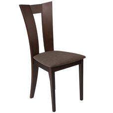 Talbot Espresso Finish Wood Dining Chair with Slotted Back and Golden Honey Brown Fabric Seat
