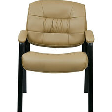 Work Smart Bonded Leather Executive Visitors Chair with Steel Base and Padded Arms - Tan