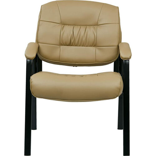 Our Work Smart Bonded Leather Executive Visitors Chair with Steel Base and Padded Arms - Tan is on sale now.