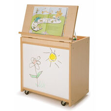 Big Book Display with Marker Board and Rear Book Storage on Casters