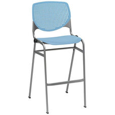 2300 KOOL Series Stacking Poly Armless Barstool with Perforated Back and Silver Frame - Sky Blue
