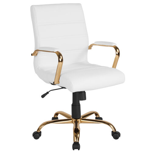 Our Mid-Back White Leather Executive Swivel Office Chair with Gold Frame and Arms is on sale now.