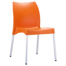 Domenica Lightweight Stackable Side Chair with Aluminum Legs - Orange