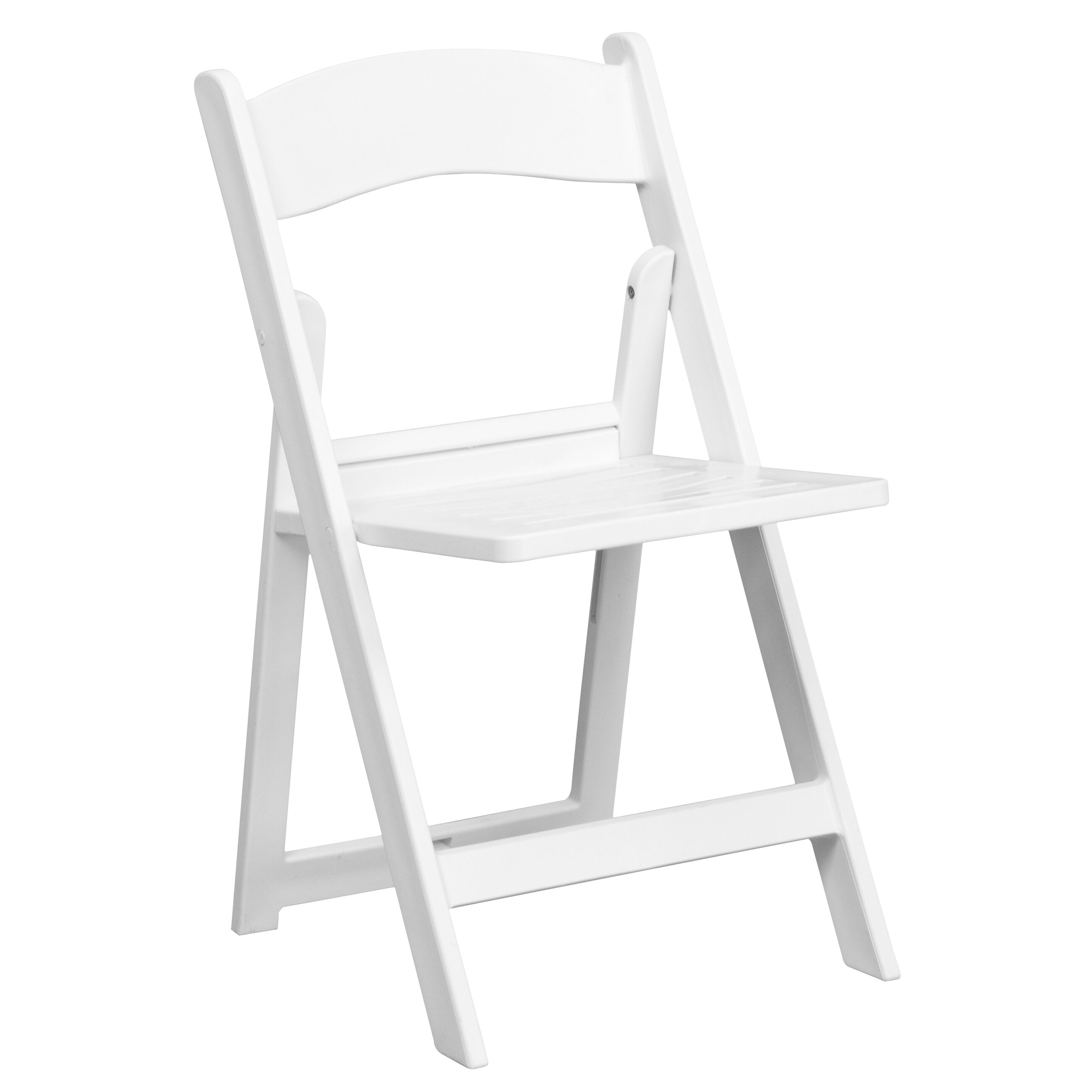 Capacity White Resin Folding Chair With Slatted Seat Is On ...