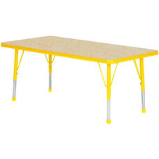 Adjustable Standard Height Laminate Top Rectangular Activity Table - Maple Top with Yellow Edge and Legs - 36