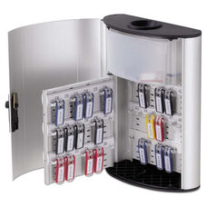 Durable® Key Box Plus - 54-Key - Brushed Aluminum - Silver - 11 3/4 x 4 5/8 x 15 1/2