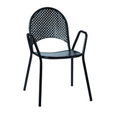 Work Smart Metal Stacking Chairs with Arms - Set of 2 - Black