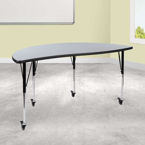 """Mobile 60"""" Half Circle Wave Collaborative Grey Thermal Laminate Activity Table - Standard Height Adjustable Legs"""